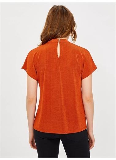 Vekem-Limited Edition Kısakol Büzgü Yaka Bluz Kiremit